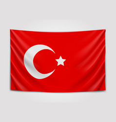 Hanging flag of turkey republic of turkey vector