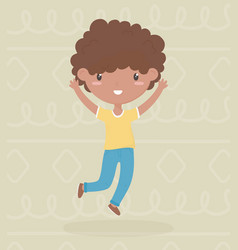 Happy childrens day little afro american boy vector