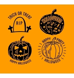 Happy Halloween logo with curving pumpkins vector image