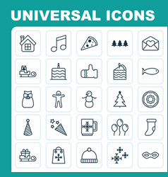 Happy icons set collection of sleigh air ball vector