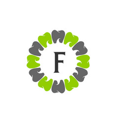 Healthy dental care letter f vector