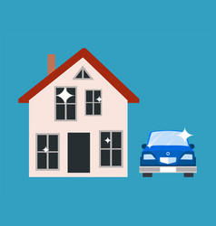 House and blue car poster vector