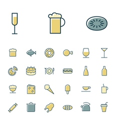 Icons thin blue food sweets vector