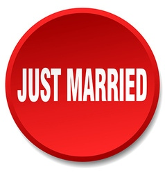 Just married red round flat isolated push button vector