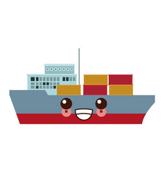 Kawaii cargo ship carries steel containers for vector