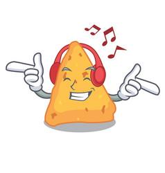 Listening music nachos mascot cartoon style vector