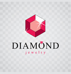 luxury faceted decorative element glossy diamond vector image