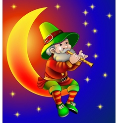 Magician plays on flute sitting on moon in the nig vector