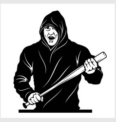 Man with a baseball bat thug - ghetto warrior vector