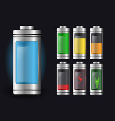 Metal with glass batteries set of various types vector
