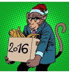 Monkey Santa Claus symbol new year 2016 vector