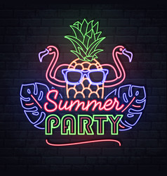 Neon sign summer party with tropic leaves vector