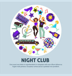 night club promotional poster with party people vector image vector image