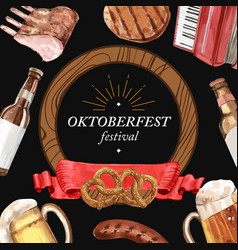 Oktoberfest frame with beverage brewery alcohol vector