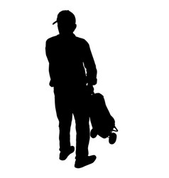old man silhouette with luggage vector image