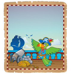 Parchment with pirate ship deck 6 vector