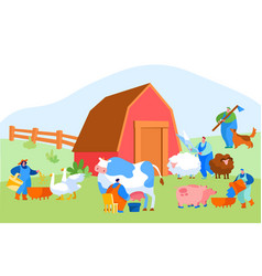 people doing farming job as feeding domestic vector image