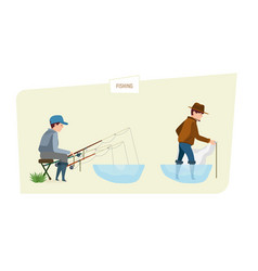 People fishermans fishing fish on fishing rod and vector