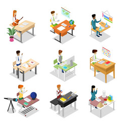 people sitting at table isometric 3d set vector image