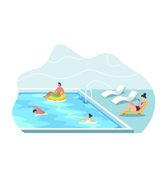 People swimming in public swimming pool vector
