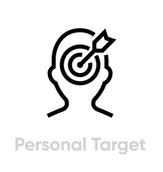 Personal target icon editable line vector