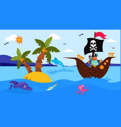 pirate ship in cartoon sea with animal vector image
