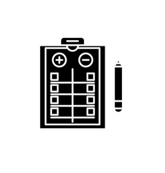 Pros and cons list black icon sign on vector