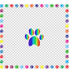 rainbow animal paw print framed with multicolored vector image