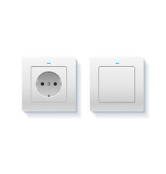 realistic detailed 3d wall switch and power vector image
