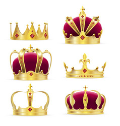 realistic golden crown for king or queen vector image