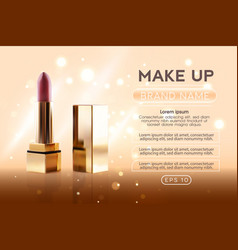 Red lipstick on on a golden cosmetics background vector