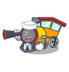 Sailor with binocular train mascot cartoon style vector