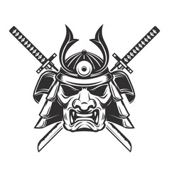 Samurai mask with crossed swords isolated on vector