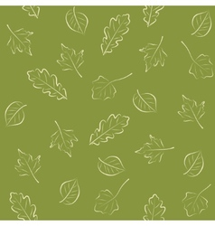 Seamless green pattern with leaves vector image