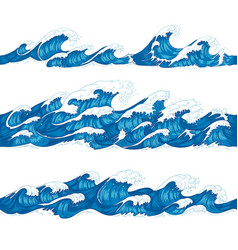 Seamless ocean waves sea surf decorative surfing vector