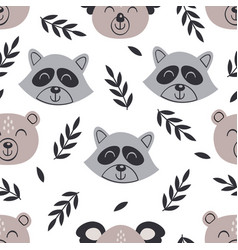 Seamless pattern with baby face bear and raccoon vector