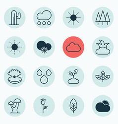 Set of 16 landscape icons includes oak water vector