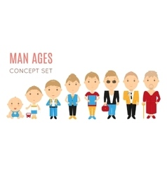 Set of casual man age flat icons vector