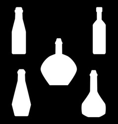 set of different silhouettes bottles isolated on vector image