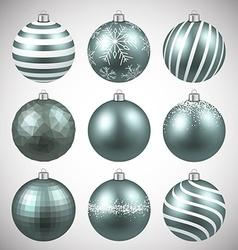 Set of realistic dim christmas balls vector