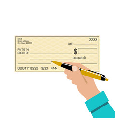 signing a bank check pen in hand vector image