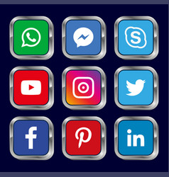 Social media icons pack button vector