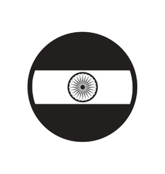 Stylish black and white icon flag of india vector