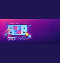 swot analysis concept banner header vector image