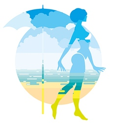 Tanned girl in a swimsuit on the beach vector image