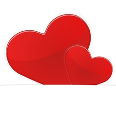 Two red hearts on a white background vector