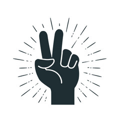 Victory gesture hand two fingers raised up vector