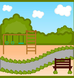 view of a playground with a bench vector image