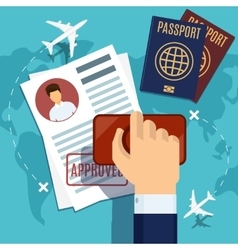 visa stamping stamp on passport application vector image
