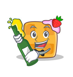 waffle character cartoon design with beer vector image